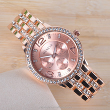 Geneva foreign trade the men's watch rose gold diamond studded fashion business.Cheap Price Wholesale Geneva Watches