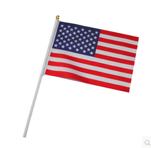 2017 Newest American Hand Flag with plastic pole on wholesales