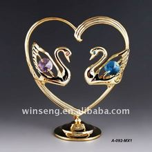 24K Gold plated Metal Love Swan for wedding gifts Made with swarovski elements