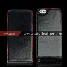 Flip effect phone case for iphone 5s, nice touch feeling for genuine leather case