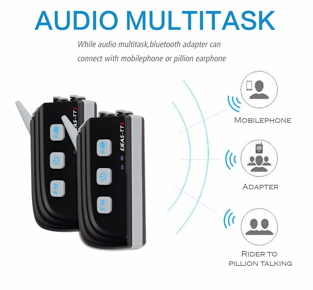 Multi Task Bluetooth Interphone Motorcycle Helmet Intercom 1200M 6 Riders Connection From EJEAS TTS