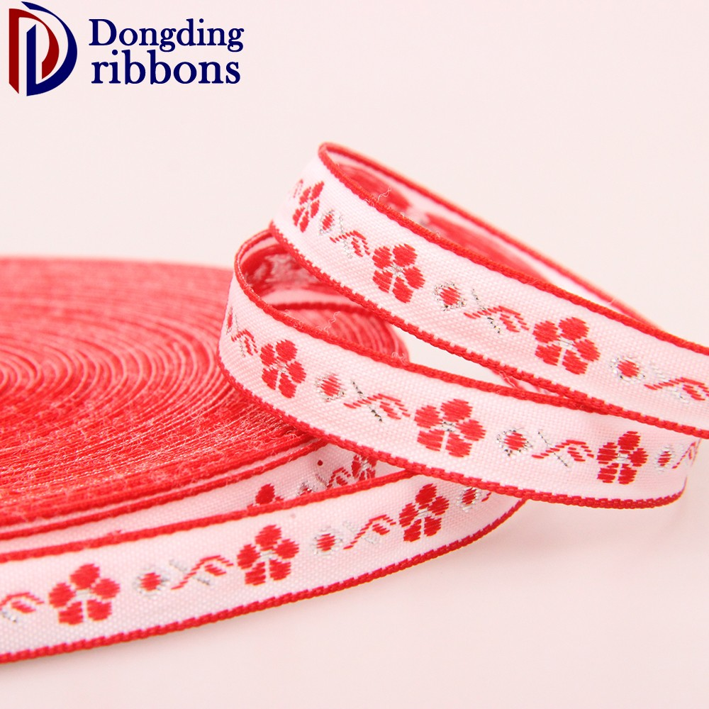 "2017 newest style wholesale 5/8"" inch 15mm red white flower webbing fabric jacquard ribbon for gift decoration"