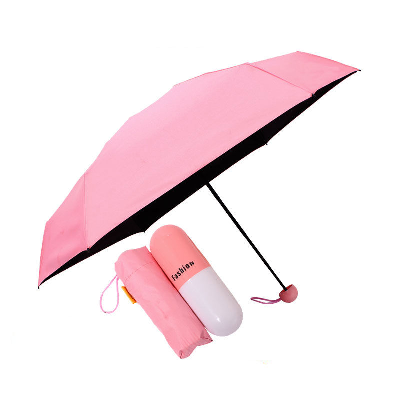 Capsule mini umbrella sun umbrella prevent bask super light anti-uv pocket 5 folding umbrella