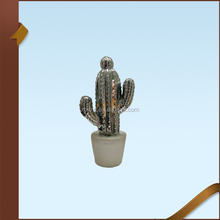 Other Home Decorative Pot Plant Silver White Ceramic Cactus Figurine Ceramic Decoration Wholesale
