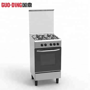 Stainless steel cooking equipement square 4 burner gas range stoves and electric oven