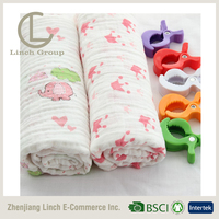 organic muslin swaddle blanket baby with pram clips gift set