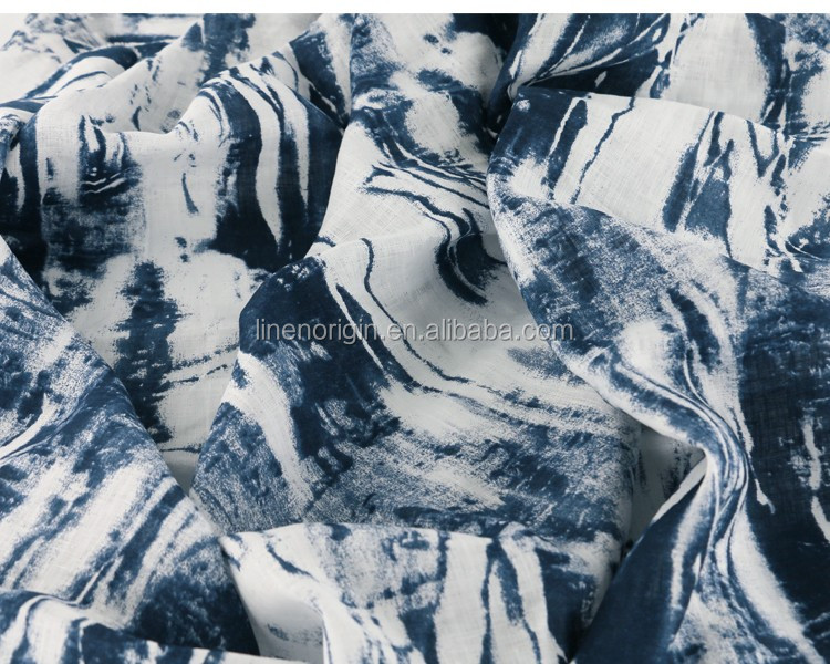 100% printed linen fabric for women's fashion dress