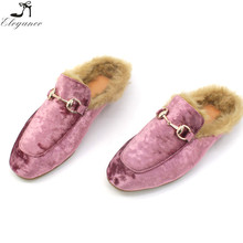 Factory Supply Hot Selling Winter Ladies Faux Fur Lined Slip On Mules Blush Soft Flats Velvet Slippers Nice Womens Mules Shoes