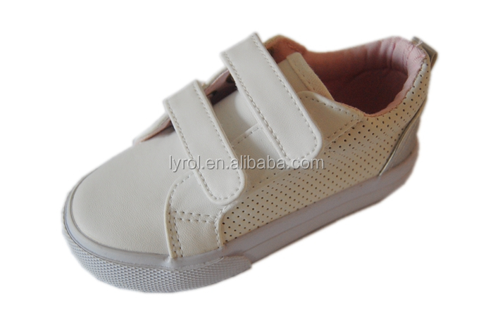 Cheap shoes under 10 dollars Kids PU white blank shoes double sticking button vulcanized shoes