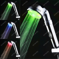 Temperature sensor 3 color led light shower heads with switch