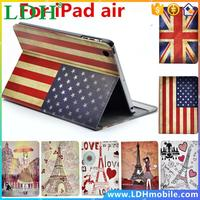 Paris Eiffel Tower Smart Stand PU Leather case For apple Ipad air 5 US UK Flags Pink Girl Ferris Wheel Holder Cover
