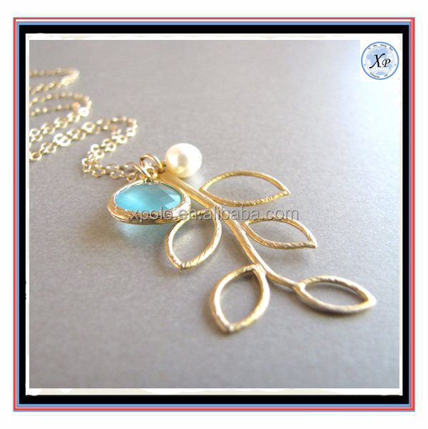 Fashion Sea Foam & Pearl Gold Branch Necklace