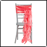 Coral Ruffle wedding chair sash