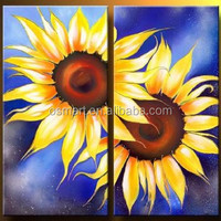 beautiful classical two pieces sunflowers big flowers heart 100%handmade classic decoration oil painting in canvas