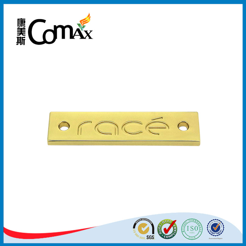 Rectangle With 2 Holes Sew Gold Metal Clothing Logos