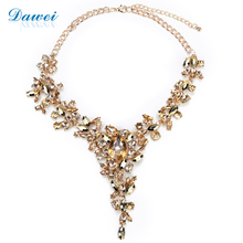 Stock Necklace Jewelry Fashion Champnage Color Rhinestone Choker Necklace Women 2017