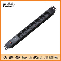 1U Italy type 7 ways PDU sockets with overload and power indicator