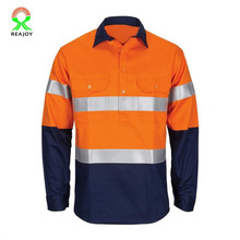 100% polyester twee tone reflecterende oranje security shirt