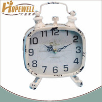 antique white twin bell alarm shape metal table clock with stand