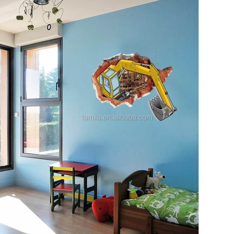 3D PVC broken window excavator wall sticker for home decoration