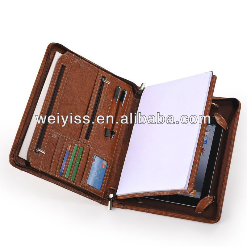 Leather Portfolio With Notepad Space for iPad 2 and for iPad 3-Brown