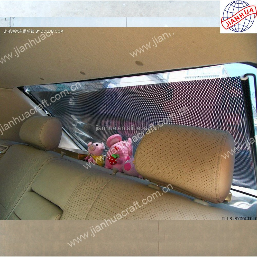 Car window sun shades with retractable rolling blinds
