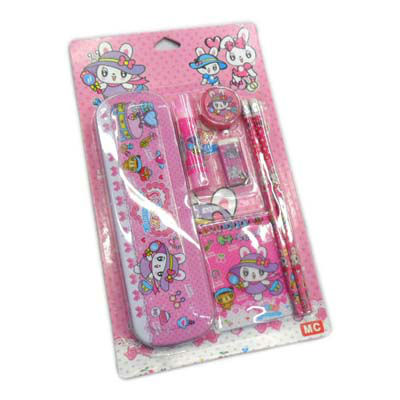 stationery set/school supplies/pencil case/ruler/sticker/eraser/kid gift