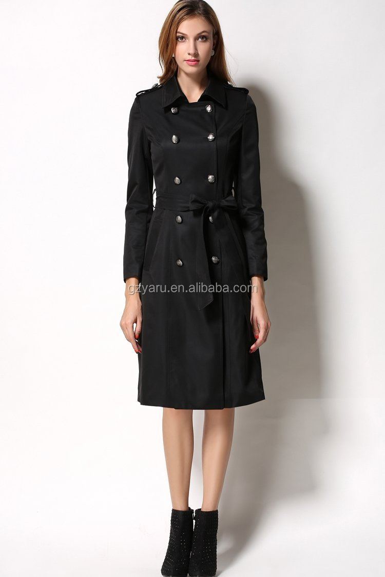 Women ladies fashion double breasted long black autumn trench coat women