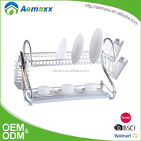 S frame long rectangle 2 layer metal dish drying rack plastic tray for kitchen space saving