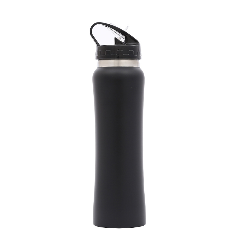 custom logo 700ml single wall stainless steel sports water bottle with straw