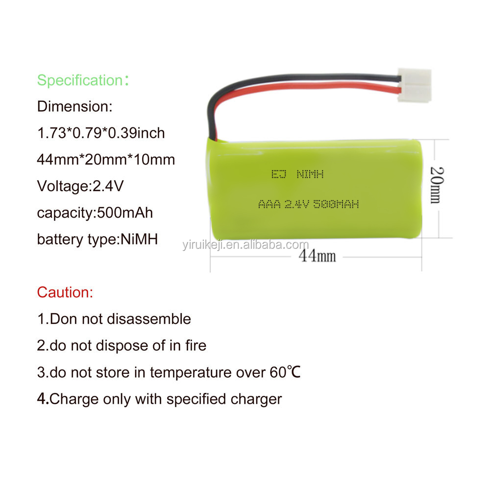 Customized 2.4V 500mAh AAA NiMH Cordless Phone Battery For Uniden BT-1011 AT&T LUCENT BT18433