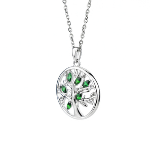 Classic S925 sterling silver jewelry tree design circle zircon artistic pendant necklace