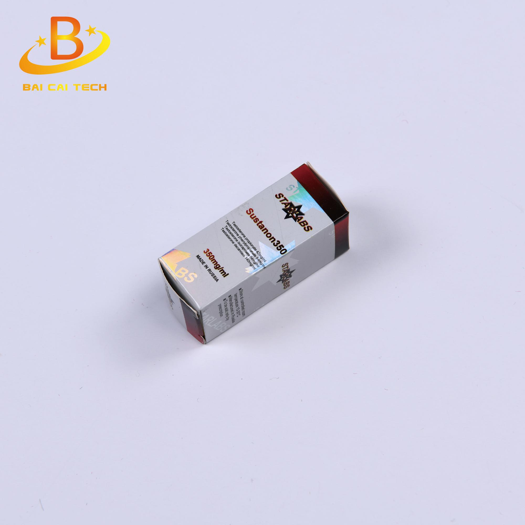 Free design custom coated paper holographic steroids 10ml vial box