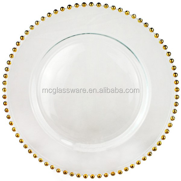 cheap wholesale wedding gold silver glass beaded charger plates buy