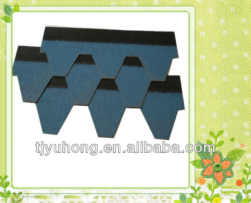 blue color bitumen roofing shingles