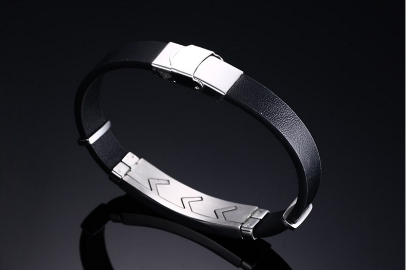 Daihe stainless steel&genuine leather bracelet for men