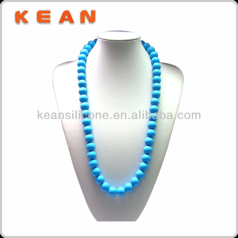 China Manufaturer BPA Free Silicone BlueTeething Rosary Necklace
