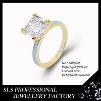 China factory wholesale jewellery 18K yellow gold diamond wedding ring jewelry with a big stone