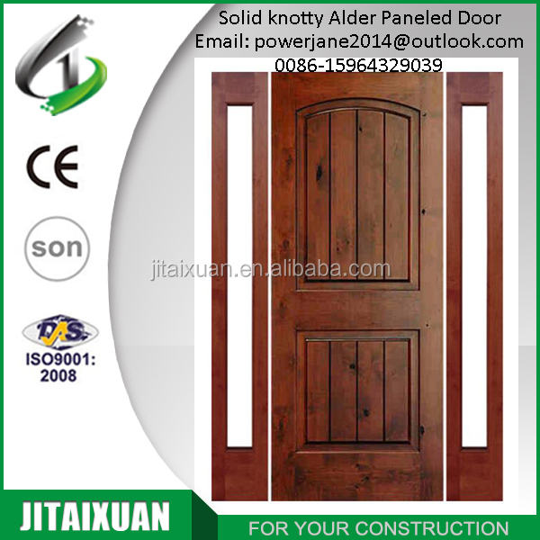 Internal solid knotty alder 2 panel with v-grooved Entry door with 2 side lite glass door