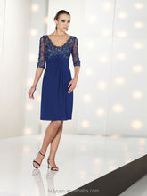 royal blue long sleeve lace chiffon v neck knee length mother of the bride dresses