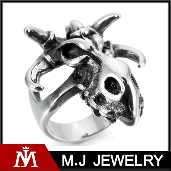 Wholesale Silver Punk Rings Personalized Animal Stainless Steel Cheap Hip hop Jewelry
