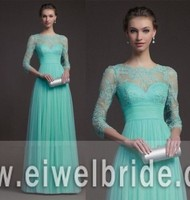 Elegant 3/4 Long Sleeves Lace Bodice Mint Blue Evening Dress