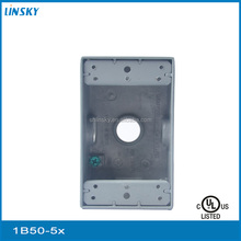 "ul aluminium 5out let holes 3/4""hole 18.3cubic inch aluminium square metal two gang box"