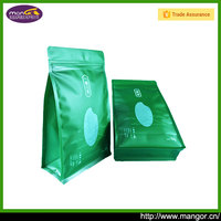 Custom Printed Matte Green Small Flat Bottom Doypack Rice Packaging Bag For Rice Pouch