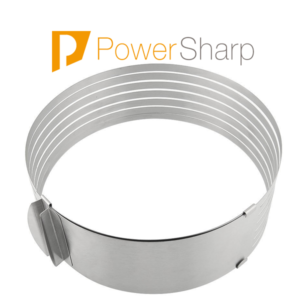 Power Sharp LFGB Food Testing 18/0 24-30cm Adjustable Stainless Scalable Mousse Cake Ring Layer Slicer Cutter Mould ( PS286-3 )