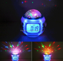 Color Change Starry Night Projection Music Digital Alarm Clock with Backlight Led Nigh Light Calendar Thermom/rolling ball clock