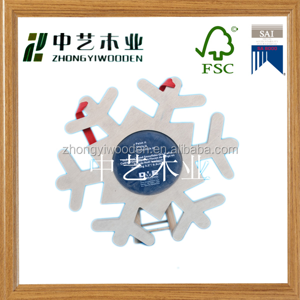 china factory suppliers FSC christmas snowflake Wooden Photo Picture frame