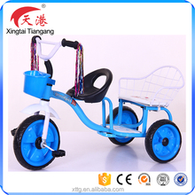 new model children tricycle two seat cheap tricycle for twins kids bike