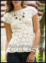 latest white lace blouses 2013 new design for ladies short sleeve tops