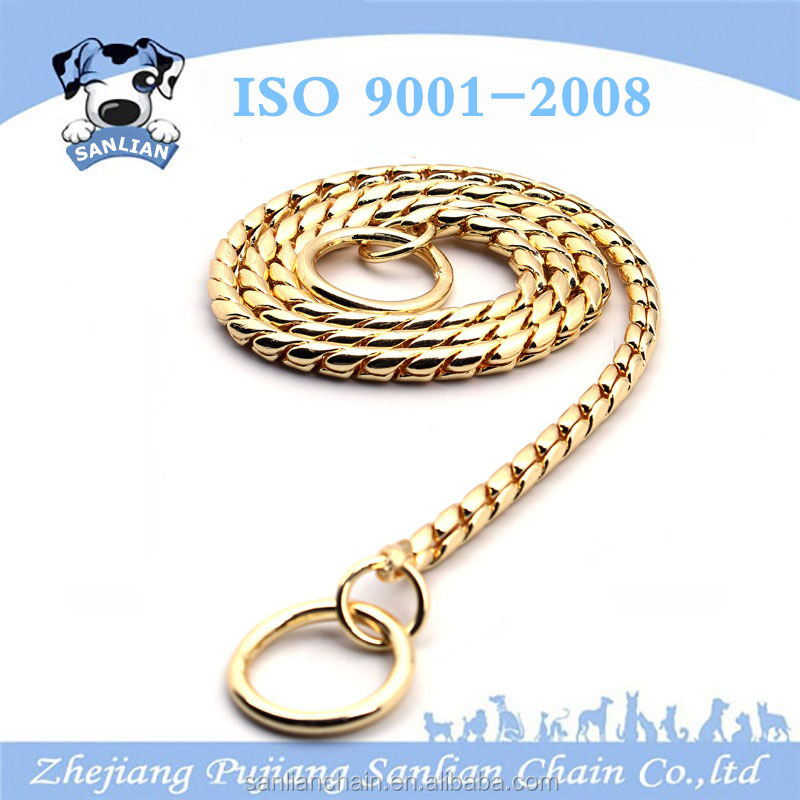 Amazon hot sell pet dog snake chain have gold black and sliver roll snake collar chain